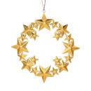 Metal wreath, stars, to hang, D30cm, gold